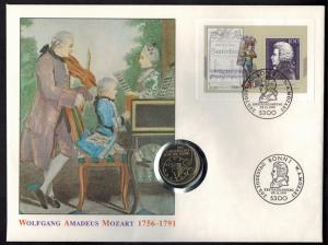 Bundesrepublik Numisbrief 200. Todestag Mozert Großformat mit 5DM-Sondermünze