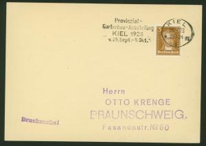 Deutsches Reich Karte m. Werbestempel Gartenbau-Ausstellung Kiel n. Braunschweig