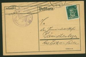 Deutsches Reich Karte mit Lochung Perfin der Stadt KIEL 1928 n. Dänischenhagen