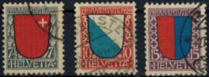Schweiz 153-155 Pro Juventute 1920 komplett gestempelt Kantonalwappen