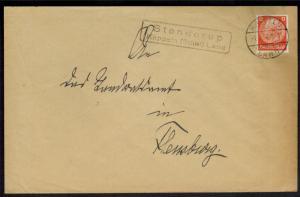 Brief Deutsches Reich Landpoststempel Stenderup Kappeln Schleswig nach Flensburg