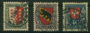 Schweiz 172-174 Pro Juventute 1921 Wappen komplett gestempelt