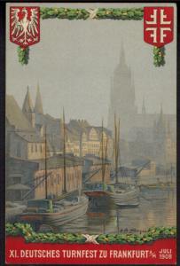 Ansichtskarte Frankfurt XI. Deutsches Turnfest Festpostkarte Nr. 3 1908 Krefeld