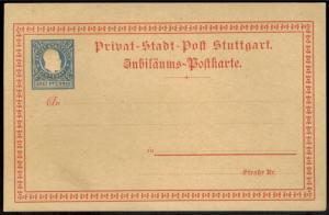 Stadtpost Privatpost Stuttgart Ganzsache König Karl drei Pfg. blau auf rot