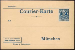 Stadtpost Privatpost München Ganzsache Postkarte Courier Münchener Kindl