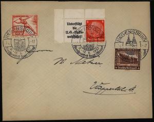 Deutsches Reich Brief Zusammendruck mit SST Regensburg Gausportfest n. Wuppertal