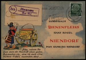 Bund Postkarte EF Heuss mit Landpoststempel Moorsee Kiel Schleswig n. Niendorf