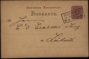 Deutsches Reich Ganzsache 5  Pfg. mit Stempel R 3 Oldenburg Holstein n. Lübeck