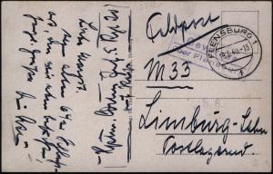 Ansichtskarte Oeversee per Feldpost mit Landpoststempel nach Limburg 19.5.1940
