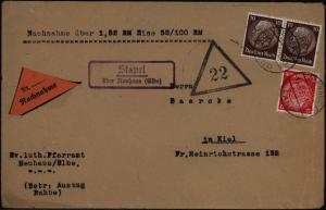 Deutsches Reich Nachnahme Brief Landpoststempel Stapel über Neuhaus Kiel