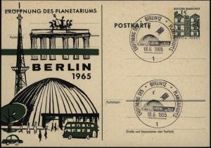 Berlin Ganzsache Bauwerke mit privatem Zudruck Eröffnung des Planetariums mit