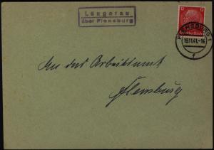 Deutsches Reich Brief EF Hindenburg Landpoststempel Lüngerau nach Felnsburg 1941