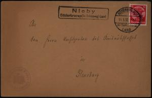 Deutsches Reich Brief Landpoststempel Nieby Süderbrarap Schleswig Flensburg