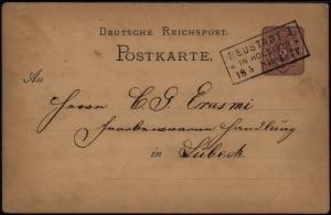 Deutsches Reich Ganzsache 5 Pfg. mit R3 Neustadt in Holstein nach Lübeck 1881
