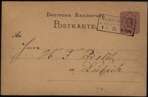 Deutsches Reich Ganzsache 5 Pfg. mit R3 Neustadt in Holstein nach Lübeck 1876