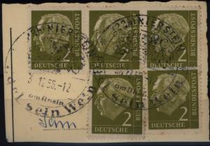 Bundesrepublik 177 waagerechter Dreierstreifen + 2x Einzeln Heuss auf Briefstück
