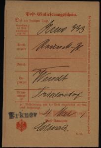 Altdeutschland Preussen Erkner L1 auf Post-Einlieferungsschein