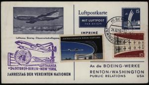 Berlin Flugpost Privat Ganzsache UNO Lufthansa Boeing selt. Vignette Berlin USA