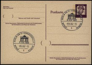 Berlin Ganzsache mit SST Kongress BIPAR Berlin Brandenburger Tor 1962