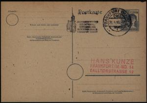 All. Besetzung Ganzsache mit Masch.-St. Frankfurt Nationalversammlung 1948