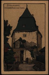 Ansichtskarte Simmern Schinderhannes-Turm Steindruckkarte Hunsrück Rheinalnd-Pf.