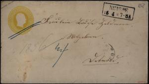 Preussen Ganzsache U 13 A mit R2 Neisse Schlesien sign. Kastaun seltene Farb -