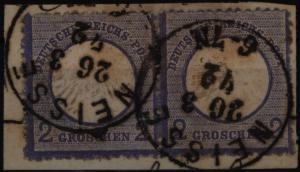 Deutsches Reich 5 2 Gr. Brustschild im Paar Briefstück K1 Neisse Nysa 20.3.1872