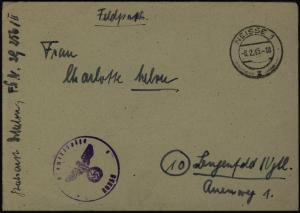 Deutsches Reich Feldpostbrief ab Neisse  Nysa nach Lengenfeld 8.2.1945