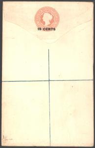 Ceylon Ganzsache Einschreibeumschlag Victoria EU 5 b Aufdruck 15c auf 12 c.