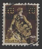Schweiz 127 Sitzende Helvetia Aufdruck 80C auf 70C 1915 gestempelt