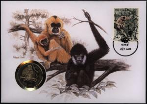 Numisbrief Vietnam Schopfgibbon 1987 WWF mit Münze 10 Dong Tiere Affen