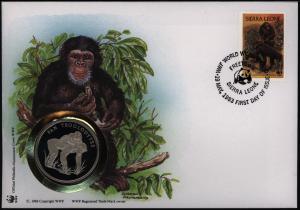 Numisbrief Sierra Leone Schimpanse mit Medaille 30 Jahre WWF Tiere