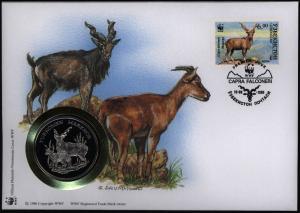 Numisbrief Usbekistan Schraubenziege mit Medaille 30 Jahre WWF Tiere