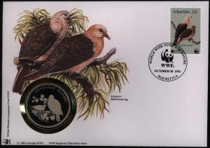 Numisbrief Maritius-Taube Medaille 30 Jahre WWF Tiere Vögel