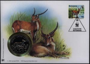 Numisbrief Botswana Roter Litschi Medaille 30 Jahre WWF Tiere