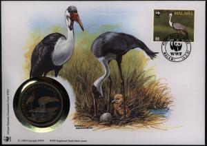 Numisbrief Malawi Klunkerkranich Medaille 30 Jahre WWF Tiere Vögel