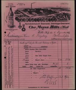 Hille Westf schöner lithographierte Rechnung Chr. Meyer Eisenbahn Station der