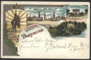Ansichtskarte Dortmund Litho Kaiser Denkmal Tempel Bahnpost Köln-Hannover Zug