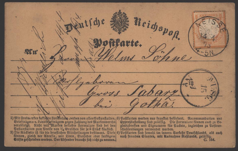 Deutsches Reich 3 Brustschild EF K1 Neiße Nysa n. Gross Labarz b. Gotha  0