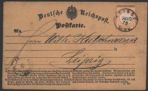 Deutsches Reich 3 Brustschild EF K1 Neiße Nysa n. Leipzig 26.10.1872