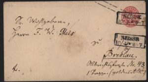 Preussen Ganzsache  U 261 Gr. Adler mit Stempel R2 Neisse n. Breslau Nysa Polen