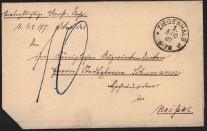 Deutsches Reich markenloser Brief K1 Ziegenhals n. Neisse nachtaxiert rs. mit