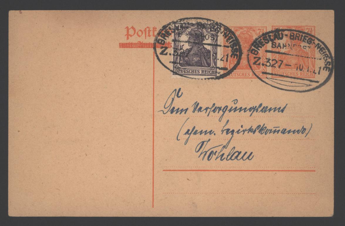 Deutsches Reich Ganzsache P 119 mit ZuF Germania Bahnpost Breslau Brieg Neisse 0