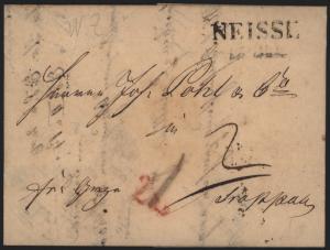 Preussen Vorphila Brief L2 Neisse Nysa Schlesien 1838 n. rs. R2 Troppau Opava