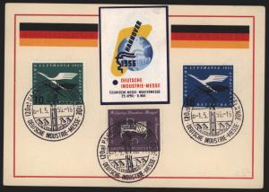 Bund Sonderkarte Industriemesse Hannover dekorativ frankiert mit Vignette 1956