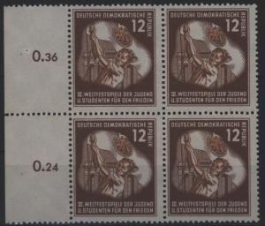 DDR 289 Viererblock vom Seitenrand 12 Pf Weltfestspiele Jugend 1951 postfrisch