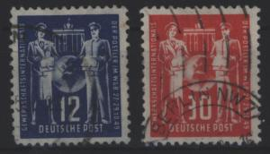 DDR 243-244 Gründungskonferenz Int. Gewerkschaftsvereinigung 1949 gestempelt