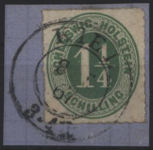 Altdeutschland Schleswig Holstein 9. auf Luxus-Briefstück mit schönem K2 Kiel