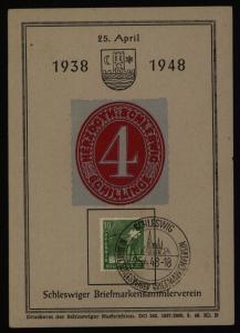 All. Besetzung Gemeinschaft Gedenkblatt Schleswig 10 J.Briefmarkensammlerverein