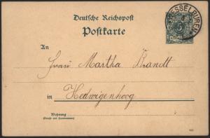 Deutsches Reich Ganzsache P 20 mit K1 Wesselburen nach Hedwigenkook 5.1.1880